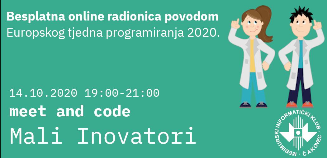 "Besplatna online radionica ""Mali Inovatori"" – Meet and Code 2020."
